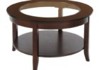 30 inch round coffee table glass on top