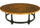 30 inch round coffee table with copper legs