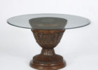 60 inch round pedestal dining table glass top