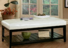 awesome rectangular white leather ottoman coffee table