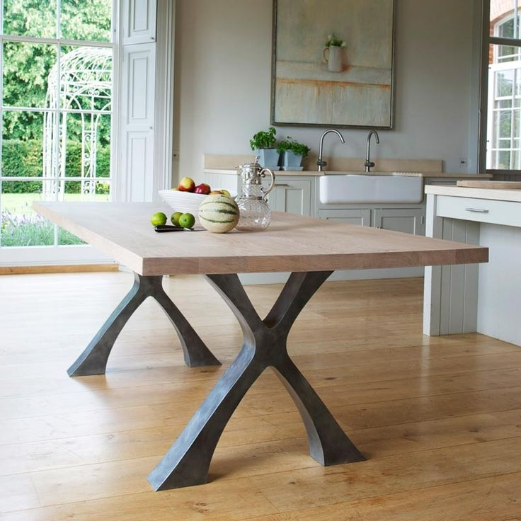 awesome solid wood dining table with metal legs