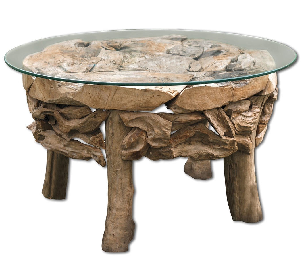 beach themed coffee table decor with glass on top