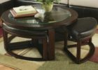 best glass round coffee table with seats ottoman