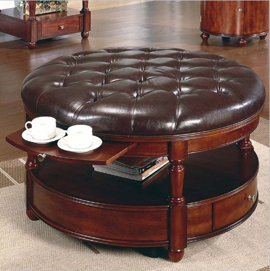 best leather tufted cushion coffee table with storage