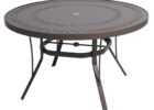 best round metal outdoor coffee table with umbrella hole