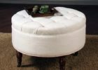 best small round tufted white leather ottoman coffee table
