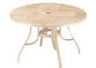 best white round outdoor coffee table with umbrella hole