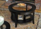 black 30 inch round coffee table glass top