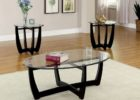black coffee and end table sets glass on top