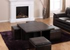 black leather coffee table with pull out ottomans