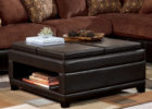 black leather cushion coffee table with storage