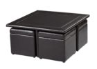 black leather square coffee table with pull out ottomans