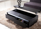 black lift top coffee tables with storage & shelf