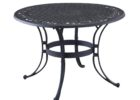 black metal outdoor coffee table with umbrella hole