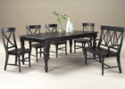 black narrow dining table with bench set