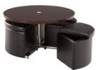 black round coffee table with seats underneath