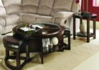 black round coffee table with seats with storage