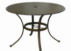 black round metal outdoor coffee table with umbrella hole
