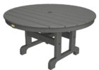 black round outdoor coffee table with umbrella hole