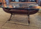 black rustic canoe coffee table glass top