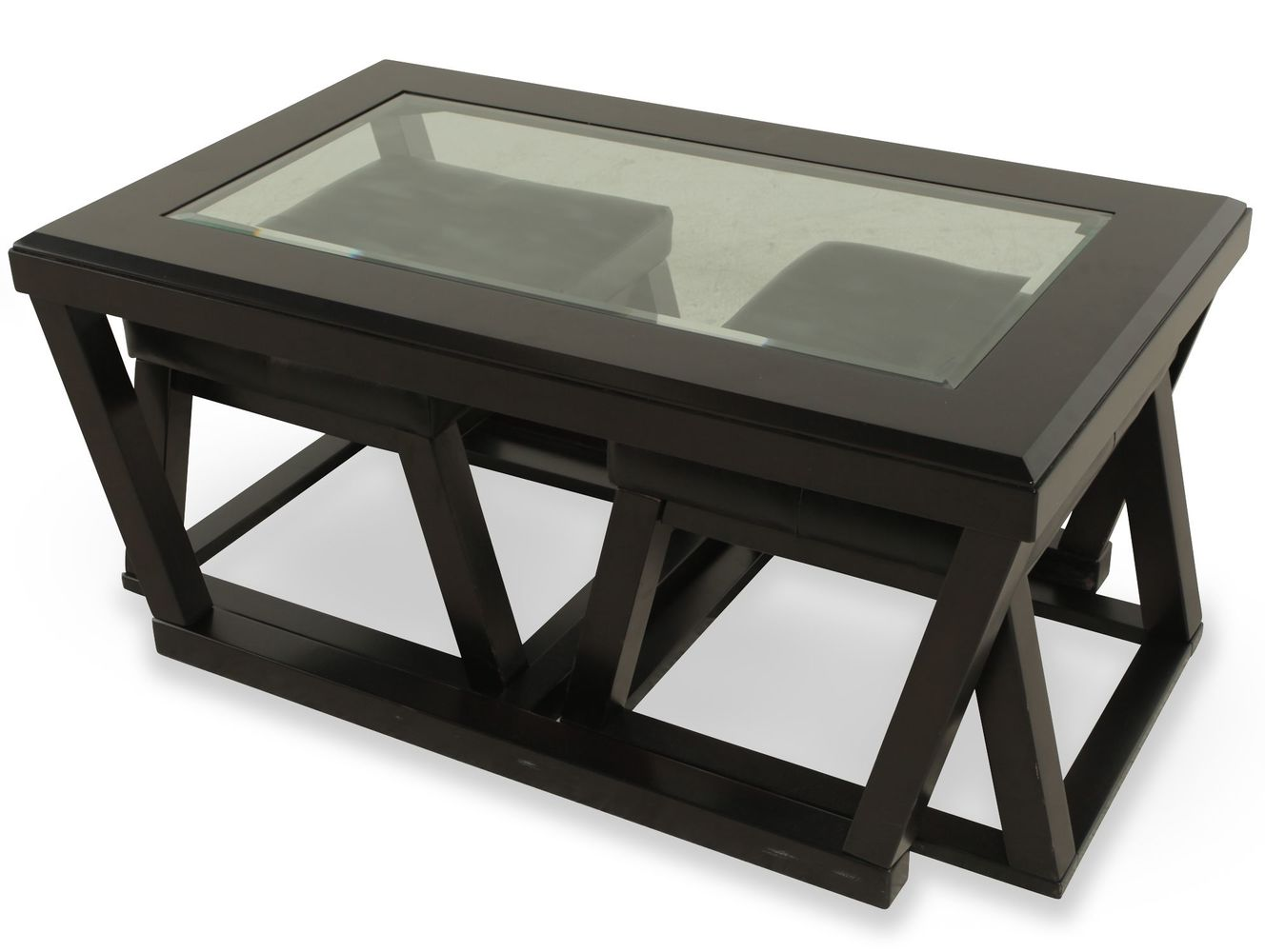black square coffee table with pull out ottomans
