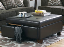 black square leather cushion coffee table with storage
