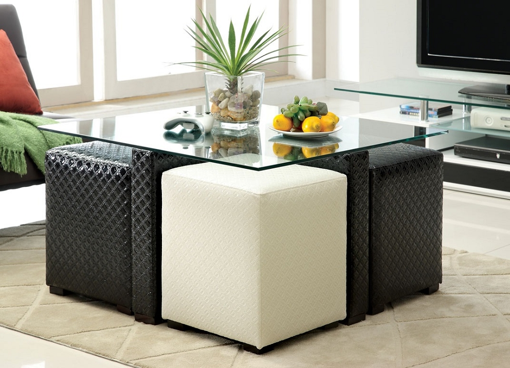 black white leather ottoman coffee table glass on top