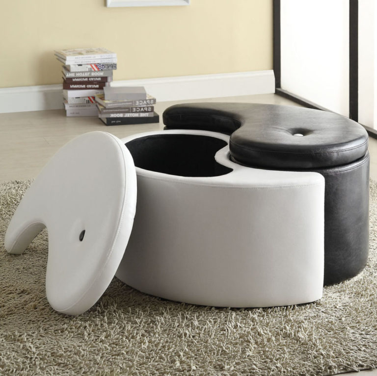 black white leather ottoman coffee table with storage