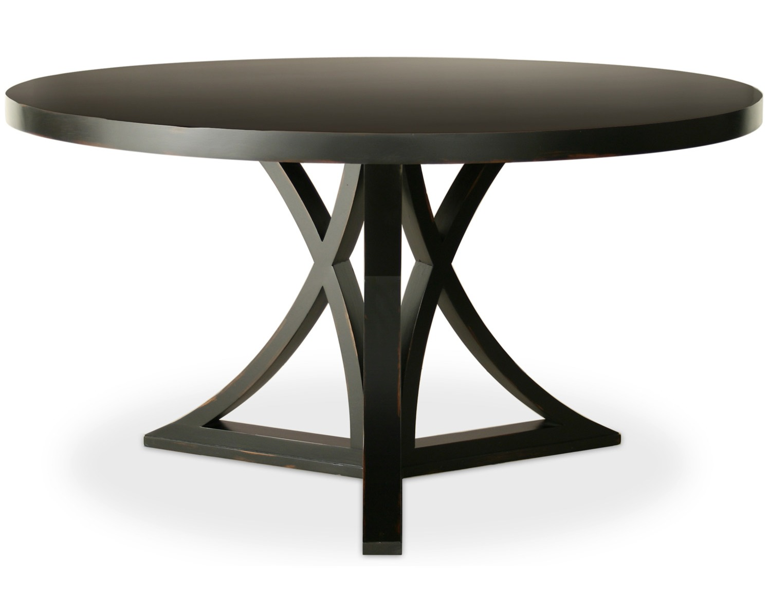 Black Wood 60 Inch Round Pedestal Dining Table Furniture Raysa House