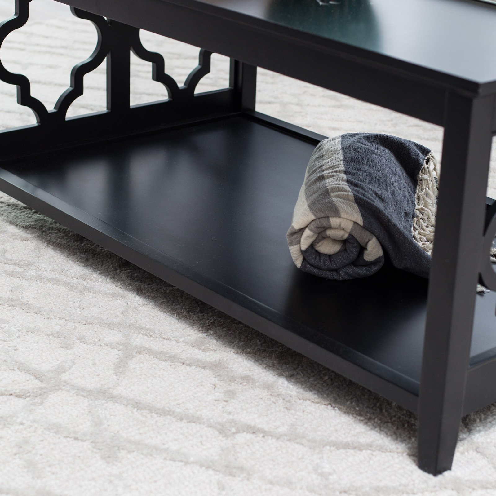 black wood quatrefoil coffee table