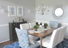 blue area rug under dining table