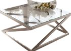 brushed nickel coffee table glass