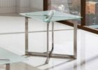 brushed nickel coffee table glass top