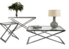 brushed nickel coffee table tempered glass