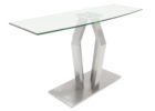 brushed nickel coffee table with glass top