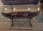 canoe coffee table glass top with stand