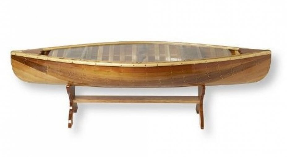 canoe coffee table glass top