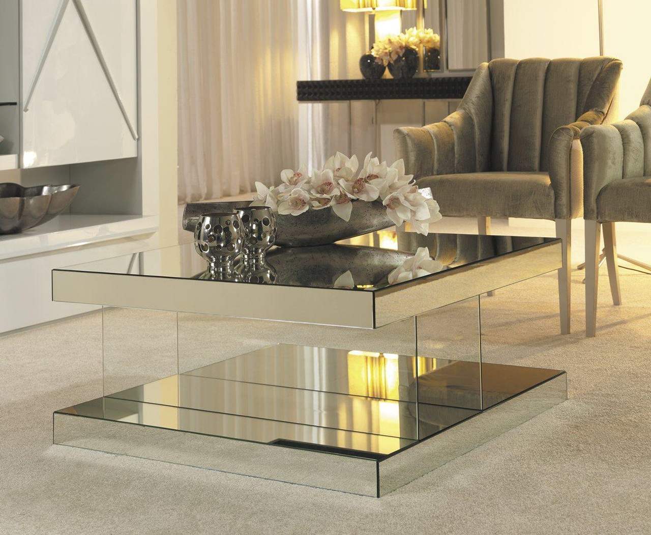 cheap mirrored coffee table small rectangle