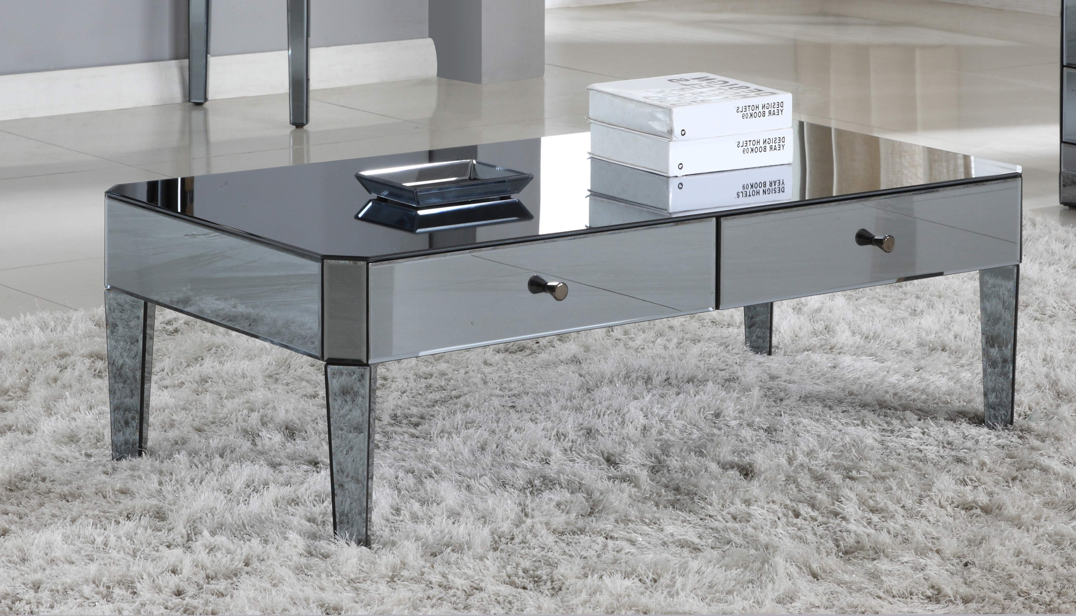 cheap mirrored coffee table with shelf
