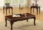 cherry wood dark wood coffee table set
