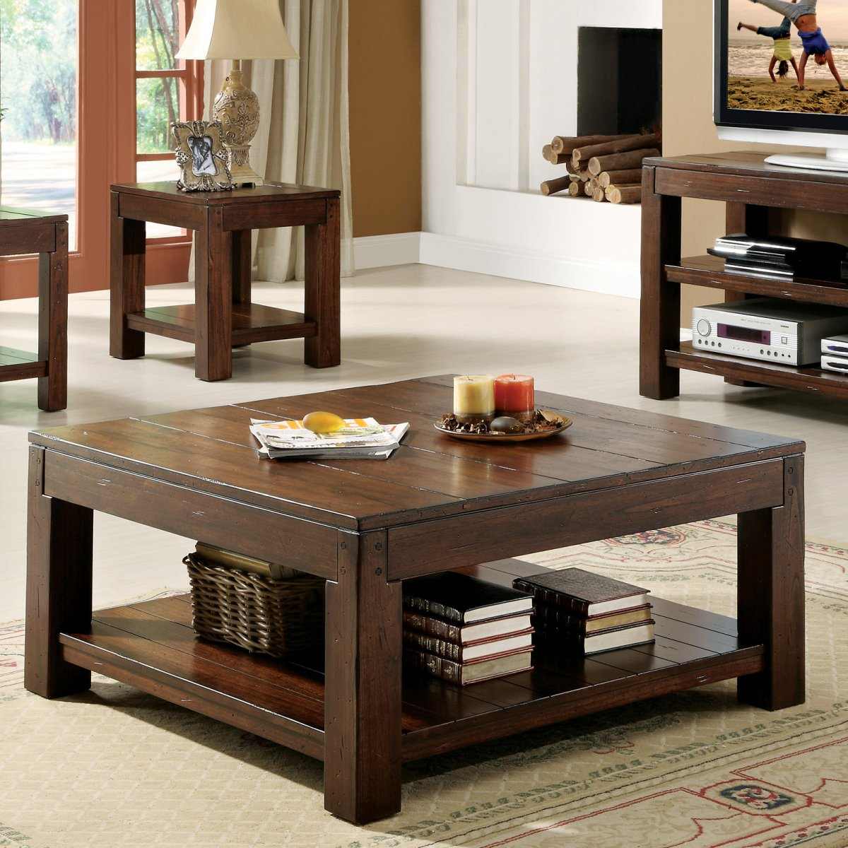 For Sale Cherry Wood Coffee Table: Cherry Wood Dark Wood Coffee Table Set For Sale