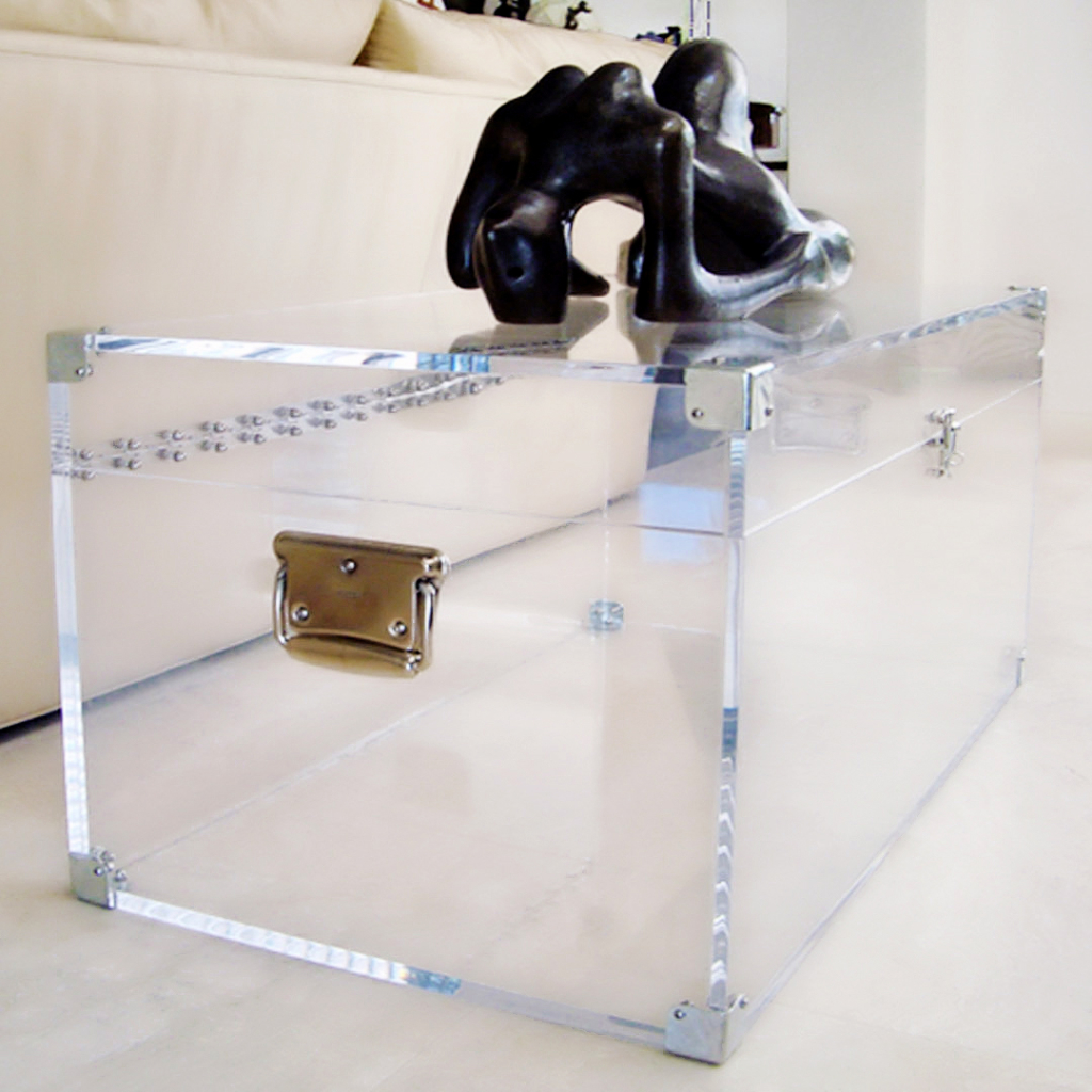 chest clear square acrylic coffee table