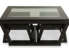coffee table with pull out ottomans with glass on top