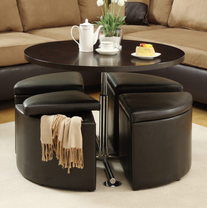 coffee table with pull out ottomans with storage