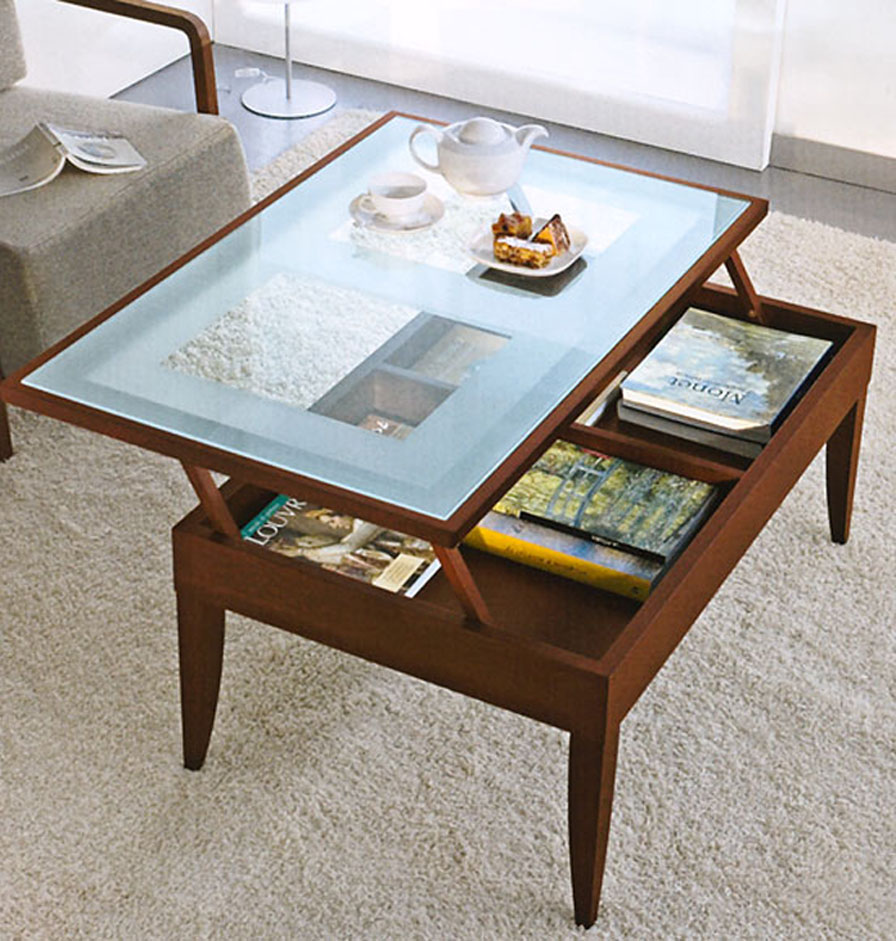 coffee tables that lift glass top