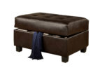 dark brown leather cushion coffee table with storage