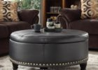 dark grey leather cushion coffee table with storage
