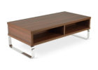 dark wood chrome and wood coffee table with storage