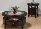 dark wood coffee table set with drawer glass top