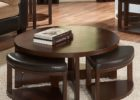dark wood coffee table set with leather ottoman